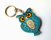 "Wooden keychain Owl ""openwork"" in Turquoise, hand-painted laser cut wood keyring gift for her for him for owl lover blue purse charm dangle"