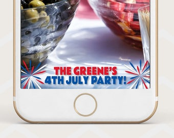 4th of July Geofilter, fourth of july backyard party snapchat geofilter, geofilter for 4th of july bash, USA party snapchat filter M18
