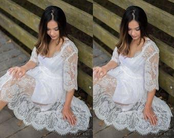 Bridal Lace Robe, Bridal Lingerie, Ivory Lace Robe, Getting Ready Robe, Lace Robe, Lingerie for Brides, Wrap Lace Robe. #R02