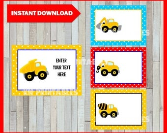 Construction Printable Cards, tags, book labels, stickers, kids cards, gift tags, labeling, scrapbooking EDITABLE INSTANT DOWNLOAD