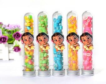 Baby Moana candy tube favors, Baby Moana candy favor containers, Baby Moana candy box, Moana candy tins, moana birthday favor supplies
