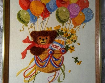 Bear With Balloons Embroidered Wall Art