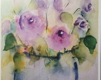 Watercolor - art print flowers painting bouquet watercolor postcard purple greeting card
