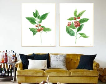 Coffee Plant print Coffee Leaves watercolor print Coffee plant painting Coffee beans plant Tropic Leaf Coffee home decor Coffee leaves decor