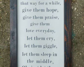 Framed Wood sign. Hand painted - Let them be little - Nursery Decor