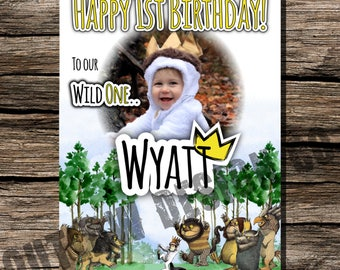 Where The Wild Things Are Birthday Photo Backdrop Poster Personalized Customized Instant Download Printable Party Decor Boy Girl Max Crown