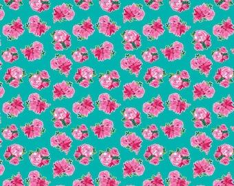 Riley Blake - Berkshire Garden - Berkshire Floral Aqua by Lila Tueller - 100% Cotton - 15 Yards Continuous Available