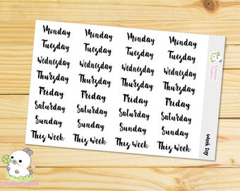 weekly day/ Days of a Week Script Word Functional Planner stickers