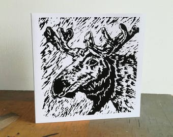 Handmade card, screen printed moose