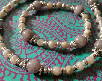 Necklace and bracelet set. Labradorite beads