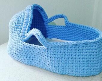 Crochet Baby Moses Basket, Baby bassinet, Crochet basket, Baby basket, baby carrier Babyshower gift Blue baby moses basket
