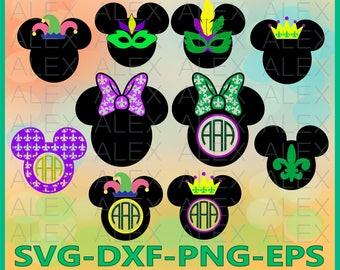 70% OFF, Mouse Mardi Gras SVG, Mardi Gras Monogram Frame Files svg, Mardi Gras png, eps, svg, dxf, Minnie Mardi Gras Monogram, Silhouette