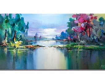 Contemporary wall art Textured Painting Impasto Landscape Palette Knife Painting on Canvas