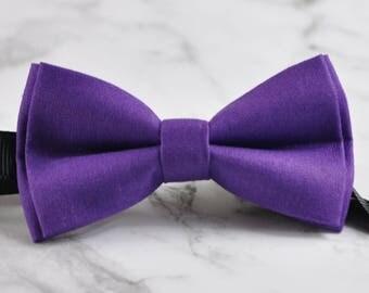 MEN Women 100% Cotton Hand made Matte Purple Bow Tie Bowtie Wedding Party