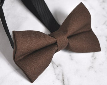 Boy Kids 100% Cotton Handmade Brown Bow Tie Bowtie Party Wedding 1-6 Years Old