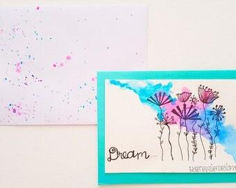dream dandelion watercolor greeting card