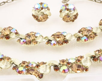 LISNER Full Vintage Set - necklace, bracelet and earrings, topaz, ab, rhinestones, signed, vintage jewelry jewellery - Parure - Mid-Century