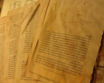 10 onion skin stained book pages