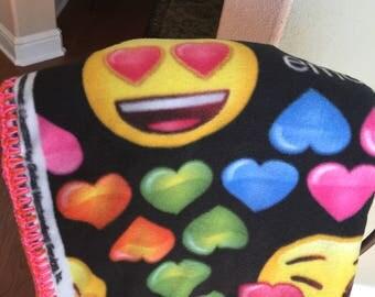 Crochet Edge Emoji Fleece Blanket