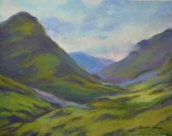 SCOTLAND HIGHLANDS GLENCOE Landscape in Original 8.5 x 11.5 Pastel Painting by Sharon Weiss
