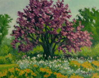 PURPLE PLUM Tree in Blooming Garden in Original IMPRESSIONISTIC 11 by 14 inch Acrylic Panting by Sharon Weiss
