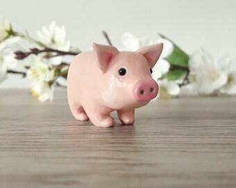 Pig miniature handmade hand painted polymer clay animal figurine totem sculpture ornament