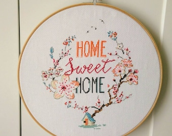 "12"" Home Sweet Home Decorative Wall Art, Cross Stitch, Embroidery Hoop, Home Decor, Family, Mothers Day and Father Gift"