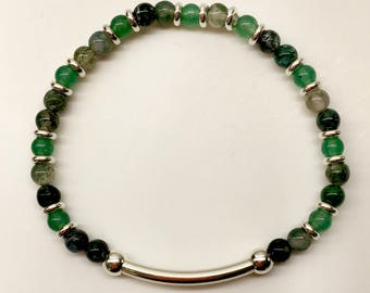Balance Band: Moss Agate, Green Aventurine and Sterling Silver.