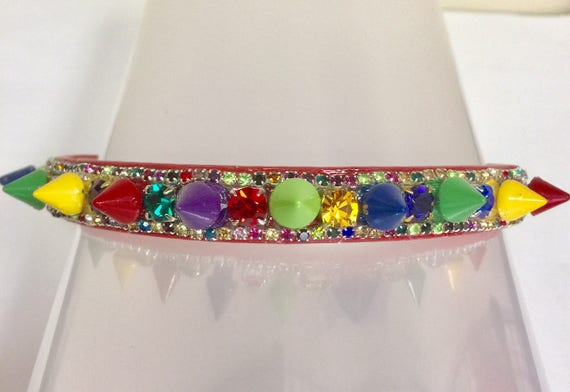 Cutie Pie Pet Collars TM ~ Christmas Tree Jewels & SPIKES~  Crystal Diamante Rhinestone Spiked Pet Dog Cat Collar USA