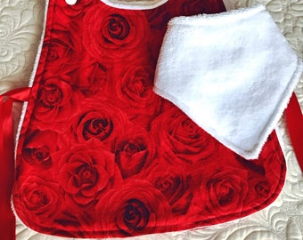 Rose baby dress, bib and mitts gift set, special occasion outfit