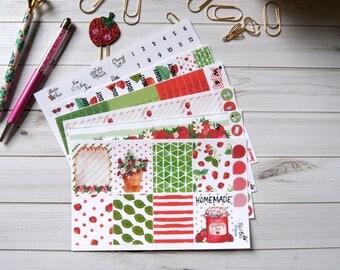 "Planner Sticker Kit ""Strawberry Season"" / ECLP / Erin Condren / Happy Planner / Recollections / TN  / Plum Paper Planner"