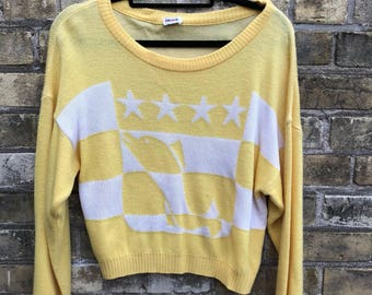 Vintage Rodier Yellow Fish out of Water and Stars, Loose Fit Sweater