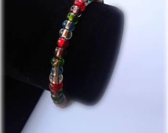 Multi Colored Rainbow Beaded Bracelet