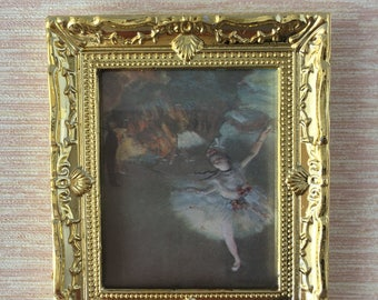 Dolls House Miniature Picture In Gold Frame
