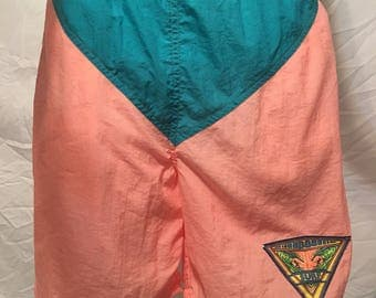 Mens neon pastel vintage rare swim trunks bathing suit swimsuit orange pink bb surf