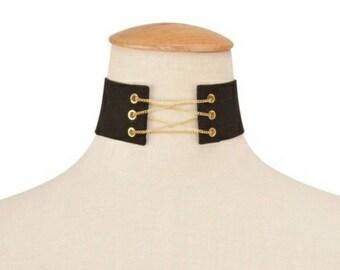 Black Suede Lace Up Corset Chain Choker Necklace