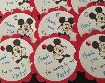 16 Disney Inspired Mickey Mouse Party Thank You Tags