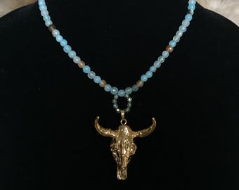 Blue and Gold Longhorn Necklace