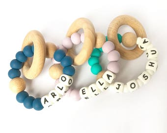 NOM Teether Personalised | Teething toy | Baby gift | Baby shower | Teething Toy |