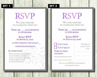 Wedding RSVP cards - Custom options