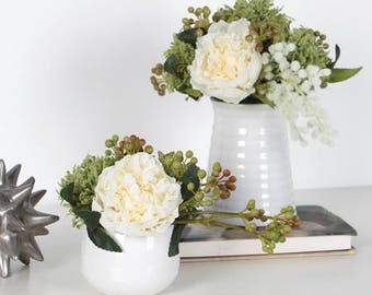 Luxury White Peony and Mixed Green Flower Arrangement
