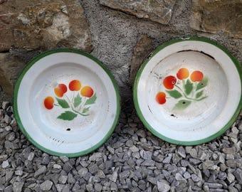 Vintage Pair of Enamel Plates / Vintage Pair of plates with cherry pattern / Emo Celje Yugoslavia 50s