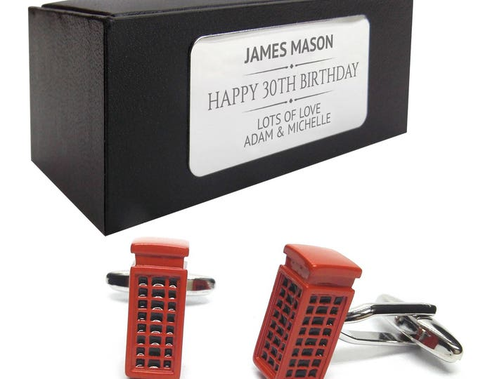Retro red telephone box CUFFLINKS 30th, 40th, 50th, 60th, 70th birthday gift, presentation box PERSONALISED ENGRAVED plate - 064