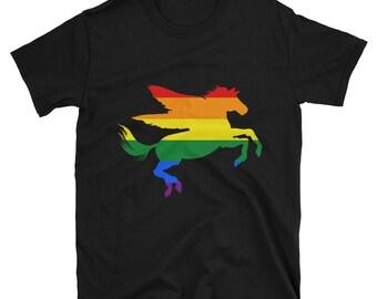 Pride Pegasus Unisex T-Shirt lgbtq lgbt lgbtqipa queer gay transgender mogai