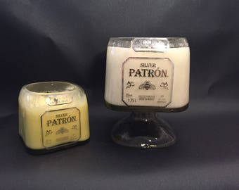 Huge 1.75 L vs 750ML Patron Tequila BOTTLE Soy Candle With/Without Attached Pedestal Base. Made To Order !!!!!