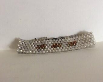 White and gold peyote stitch bracelet