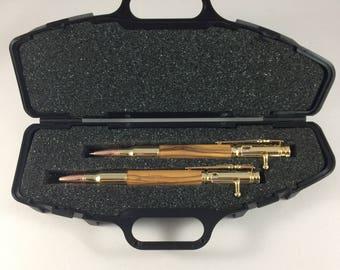 24kt Gold Bolt Action Bullet Pen and Pencil set made with Olive wood from Bethlehem/Jeruselem