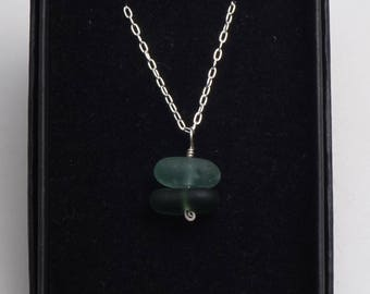 Unique Handmade Seaham Green and Seafoam Sea Glass Stack & Sterling Silver 925 Necklace