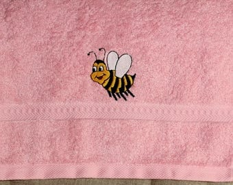"""The bee"" baby pink Terry cloth towel"