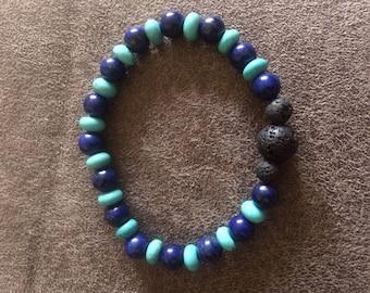 Large Lapis Lazuli, Turquoise Howlite, and Lava Stone Beaded Stretch Bracelet for Aromatherapy